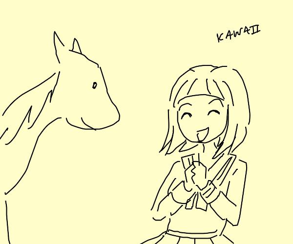 Japanese schoolgirl really loves ponies