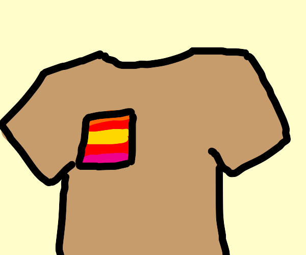 Tan shirt with colorful pockets