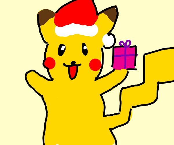 Pikachu celebrates Christmas