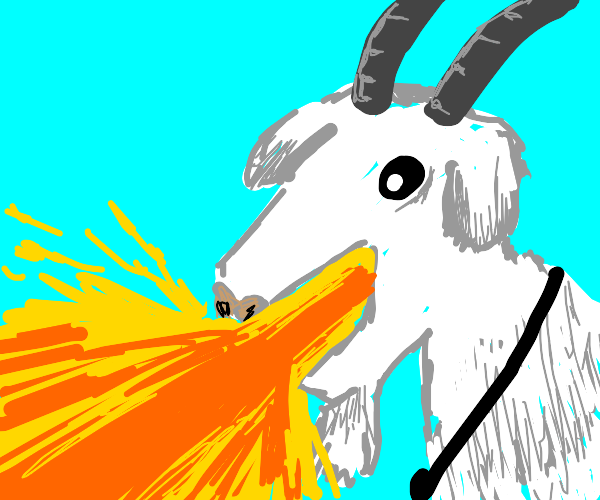 Goat breathes fire