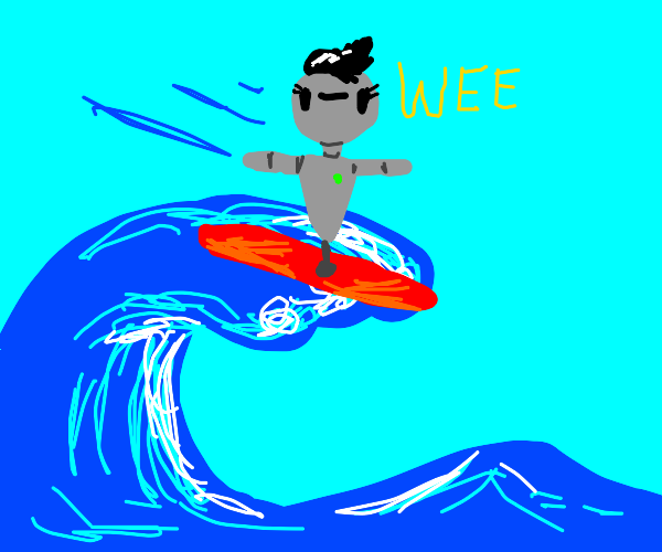 robot lady surfing