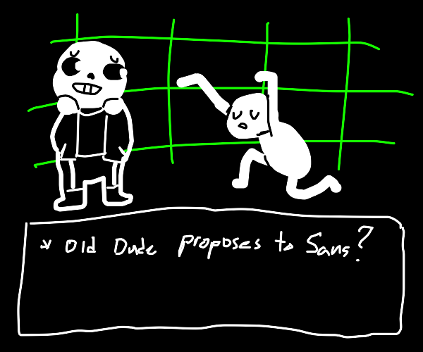 old anime man proposes to Sans