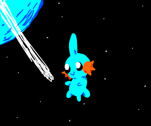a happy mudkip in space