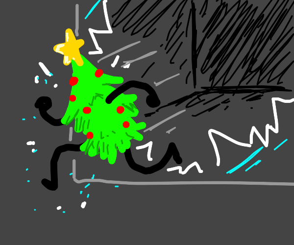 Sentient christmas tree escaping