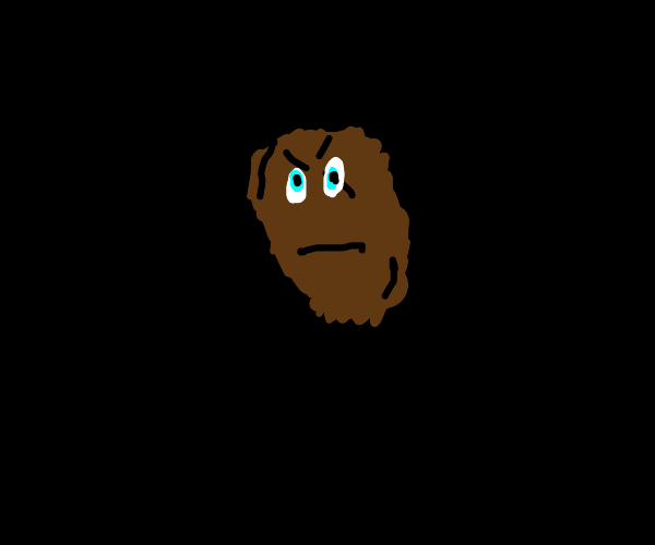 a burnt chicken nugget with ominous cyan eyes