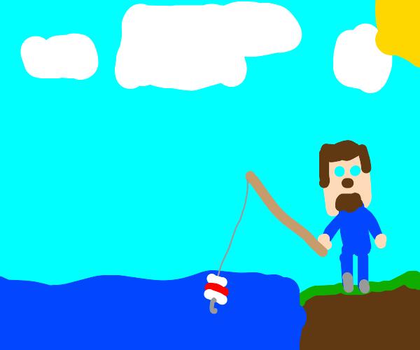 Minecraft Steve fishing
