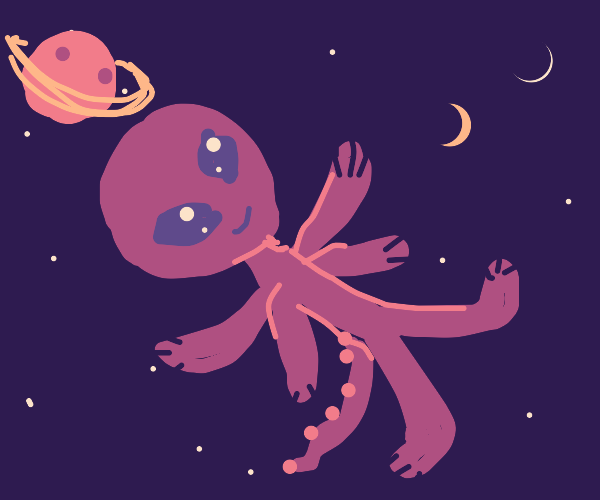 A cute, happy alien in space