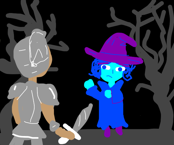 Blue witch intimidated by hero