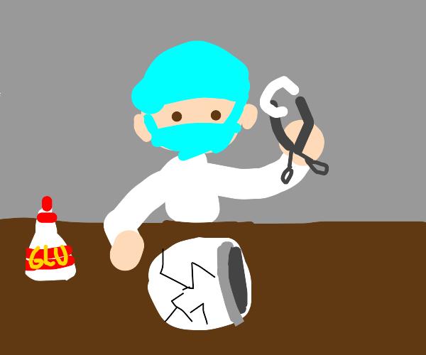 surgeon operating on a cracked coffee mug