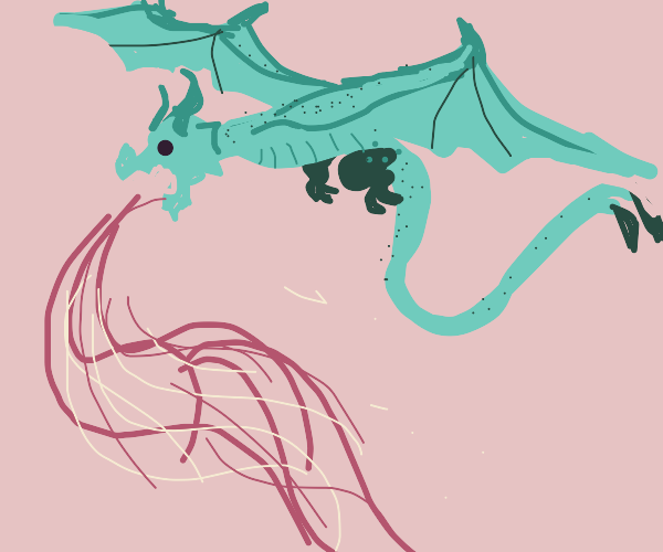 teal dragon spitting fire