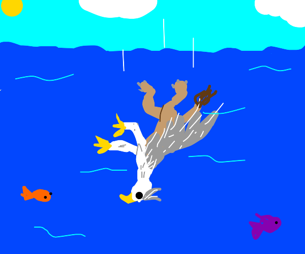 a griffin falling under the water