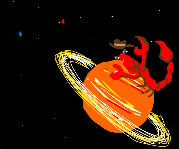 A happy Scorpion riding Saturn