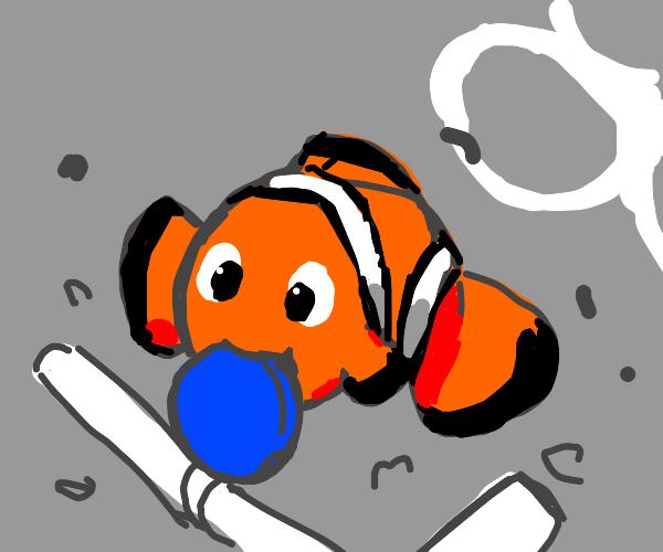 poor Nemo eating your plastic trash :(
