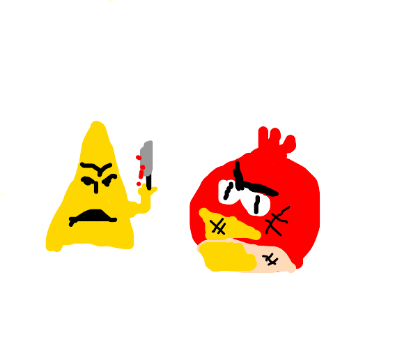 Yellow triangle attacks Angry Bird with knife