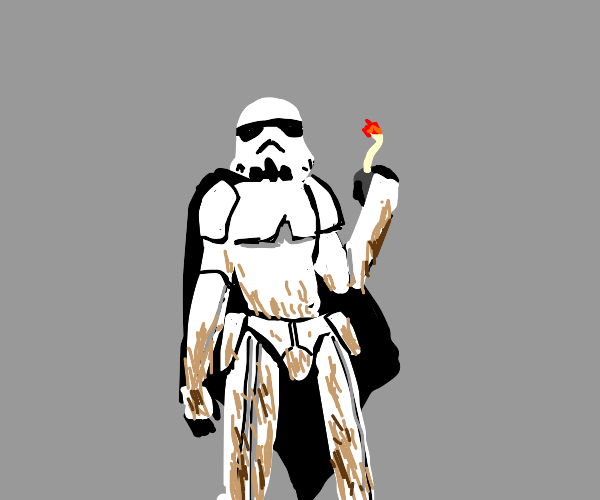 Muddy stormtrooper with bomb about to explode