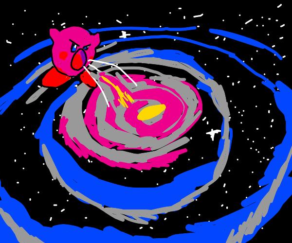 Kirby sucks up the Milky Way