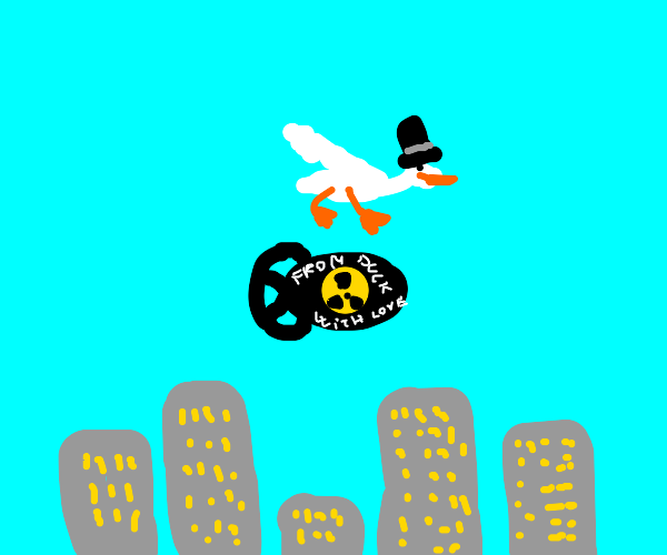Top hat duck drops A-bomb on a city