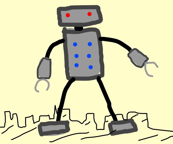 Kaiju Robot walks though city