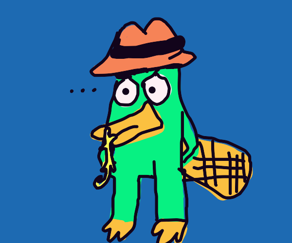 Chameleon hanging from Perry's duckbill