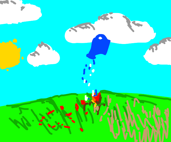 a floating watering can watering a plant