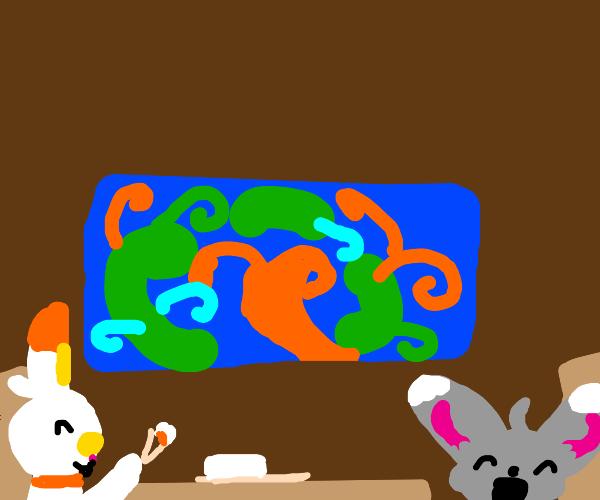 Scorbunny and Minccino eating sushi