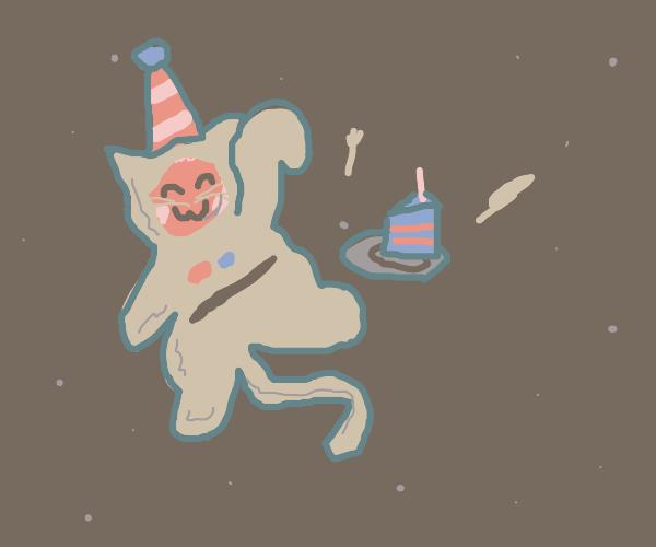 space cat has birthday