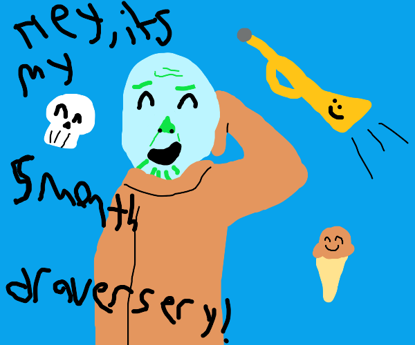 Squidward thanos with icecream trumpet and s