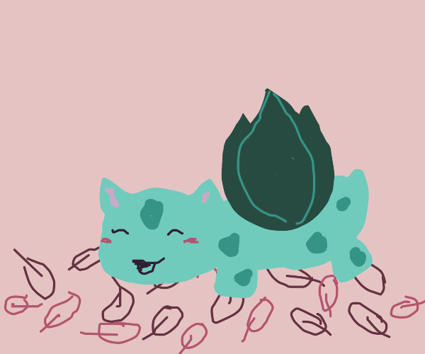 bulbasaur playing in a pile of leaves