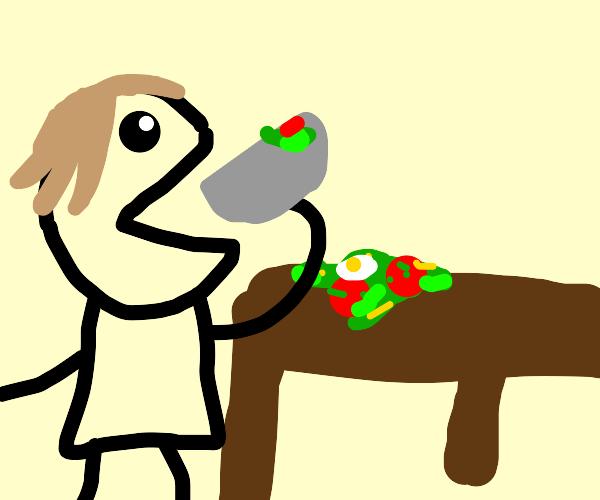 eating a salad backwards