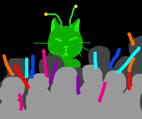 Alien cat throws hardcore rave