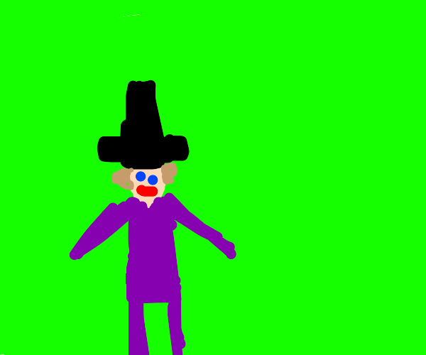 willy wonka in front of a green screen