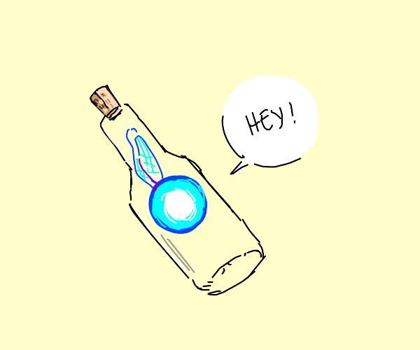 a nintendo character in a bottle