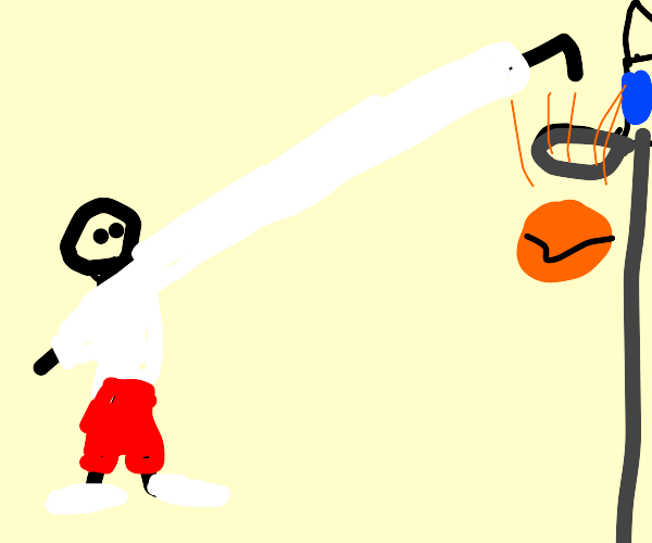 Man uses long arm to dunk basketball