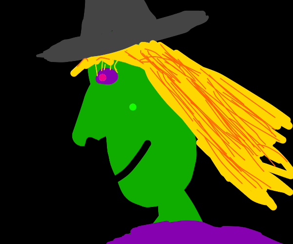 Blonde witch with violet eyes