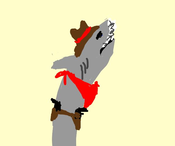 Shark in most hilarious cowboy costume
