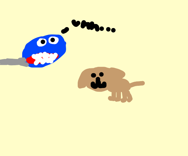 Chain chomp is bewildered by dog