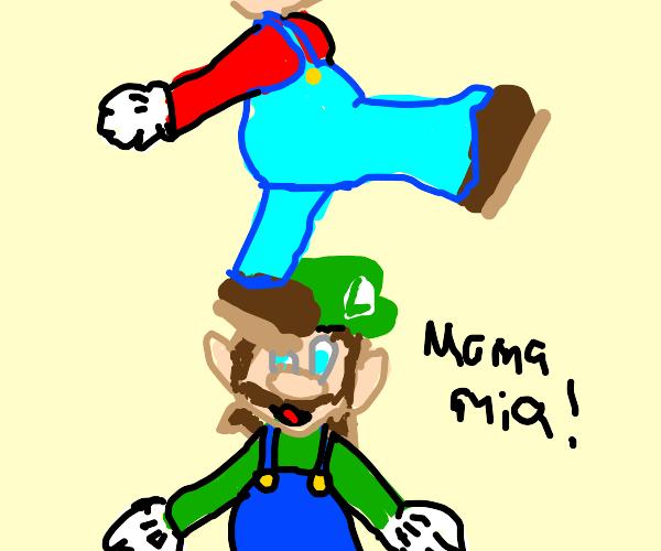Mario jumping on Luigi's head