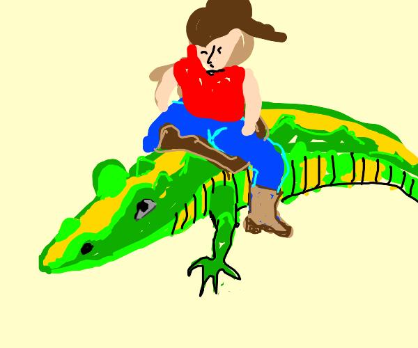 cowboy riding a aligator