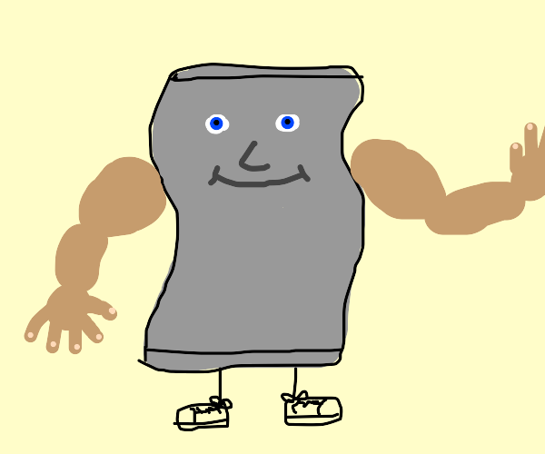 a gray towel with a face and super buff arms