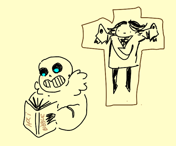 Sans reads the Bible after crucifying Komaeda