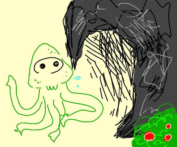 Cthulu exits a cave