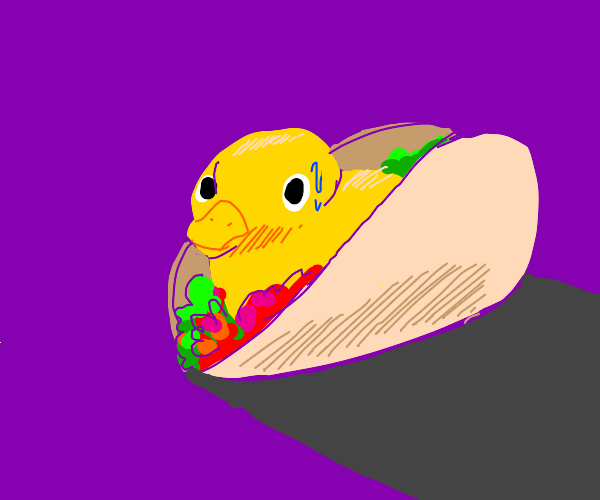 Nervous rubber duck in a taco