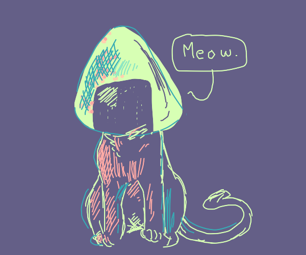 Cat with onigiri for a head.