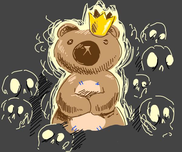 King teddy bear with skulls around him