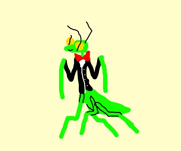 A Praying Mantis in a suit