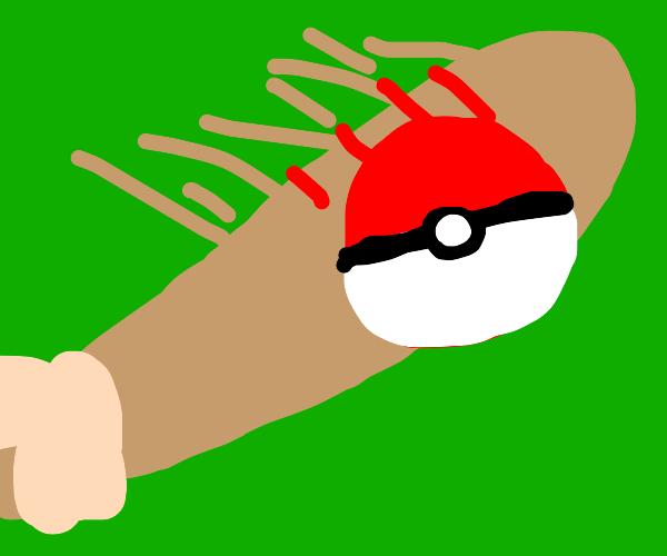 hitting a pokeball with a baseball bat