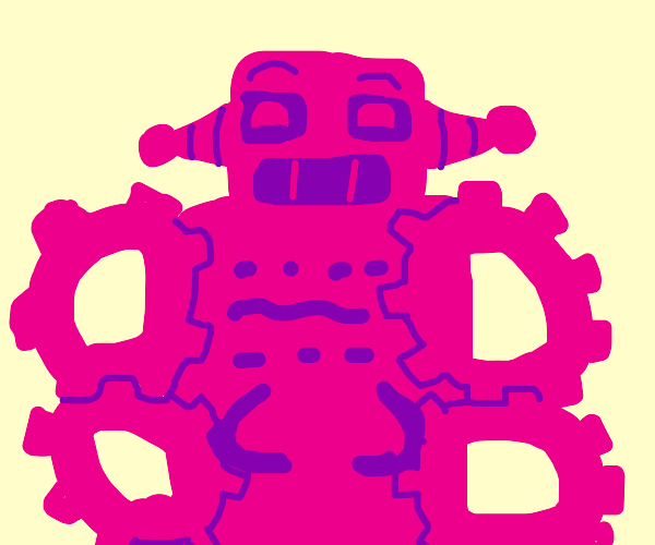 Pink robot with gears for arms