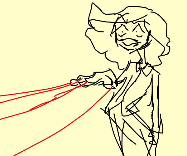a man shooting lasers out of his fingers
