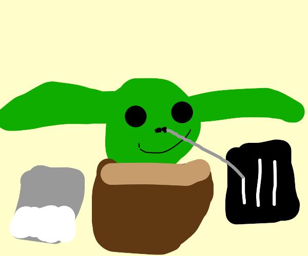 Baby Yoda is high.