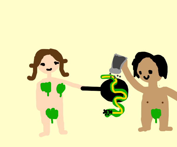 Adam and eve cooking the snake